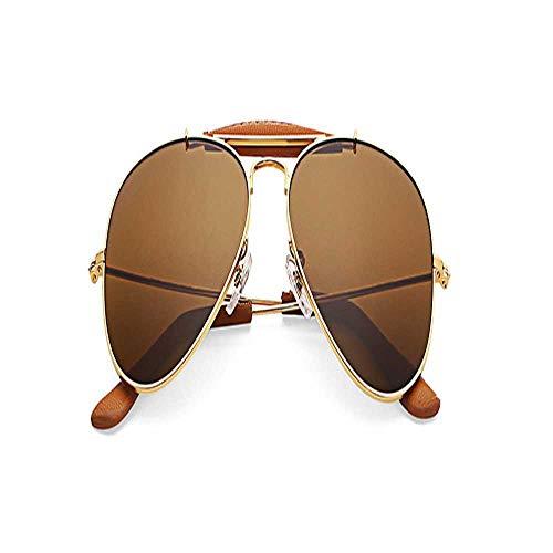 Vintage outdoor hombre hecho a mano gafas de sol hombres mujeres 58mm piloto gradiente lente de vidrio espejo polarizado gafas de sol UV400