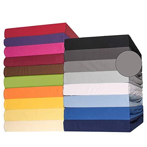 CelinaTex Lucina Spannbettlaken Doppelpack 90x200-100x200 cm dunkel grau Baumwolle Spannbetttuch Jersey Bettlaken