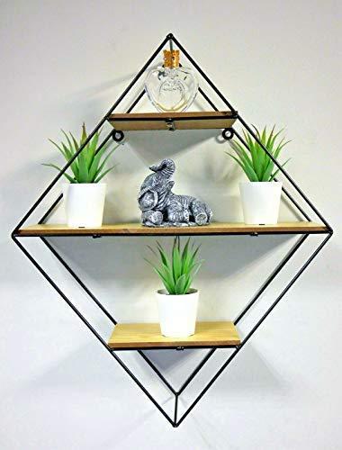 HomeZone® Modern Metal And Wood Diamond Industrial Floating Wall Shelves Shelving Display Unit Bedroom Bathroom Living Room Office Hallway Book Shelf Home Decor