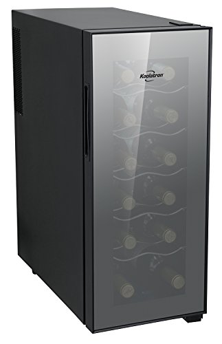 Koolatron WC12 Thermoelectric 12-bottle Slim Countertop Wine Cellar, Double-tempered Glass Door, Adjustable Temperature Control, Thermoelectric Cooling, Removable Shelves, Black