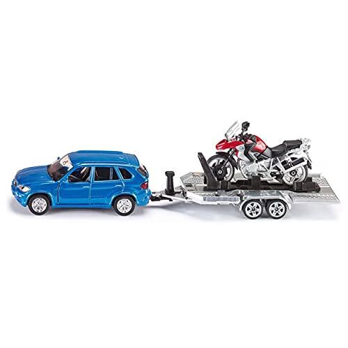 SIKU 2547 - Voiture avec Remorque et Moto, 1:55, Métal/Plastique, Bleu/Rouge, Surface de Chargement Basculante
