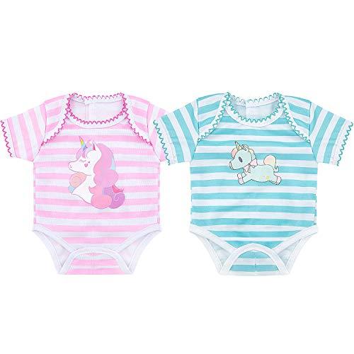 ZOEON Puppenkleidung für New Born Baby Doll, Strampler für 43cm Puppen, 2er-Pack