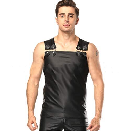 JYCDD Maniche Mens Pelle Verniciata T-Shirt Canotta Tank Top Vest,Nero,XL