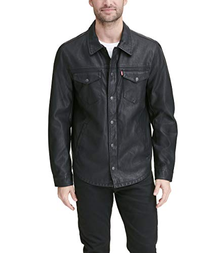 Levi's Men's Smooth Lamb Touch Faux Leather Shirt Jacket, New Black, X-Large