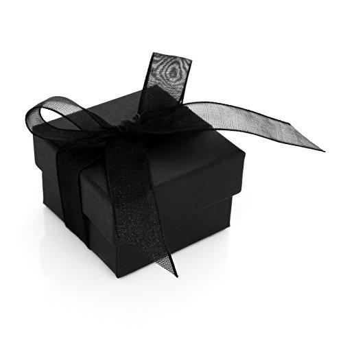 Autiga Edles Ring-Etui Ring-Schatulle Ringbox Schmucketui mit Schleife schwarz Organzaband schwarz