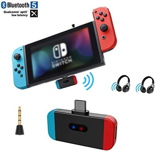 Emebay Type C Adapter Bluetooth Audio Transmitter voor Nintendo Switch, USB C Adapter Audio Wireless Transmitter met AptX Low Latenz voor Nintendo Switch, hoofdtelefoon draadloos Blauw Rood
