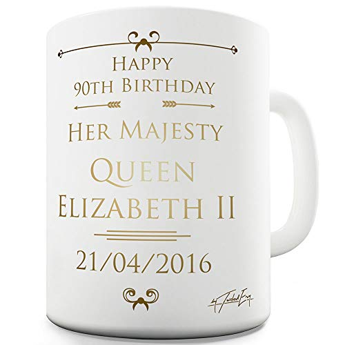 TWISTED ENVY Regina Elisabetta II 90th Birthday Ceramica Tazza Divertente