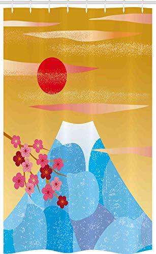 ABAKUHAUS Berg Douchegordijn, Hoge silhouet van Cliff, voor Douchecabine Stoffen Badkamer Decoratie Set met Ophangringen, 120 x 180 cm, Earth Yellow Dark Pink