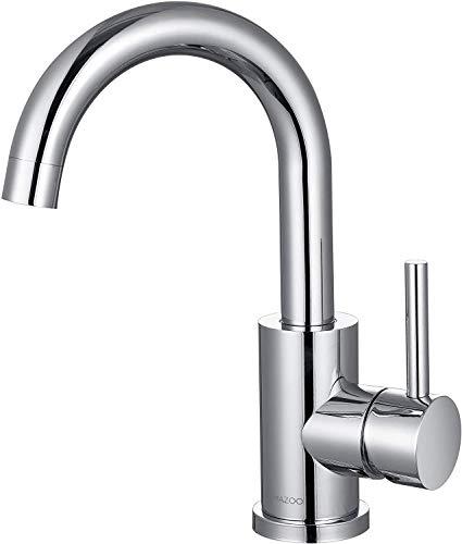 LOMAZOO Waschtischarmatur für Bad - Wasserhahn Bad | Waschbeckenarmatur Mischbatterie-Armatur Bad Einhebelmischer für Badezimmer | Badarmatur Edelstahl [Cupid]