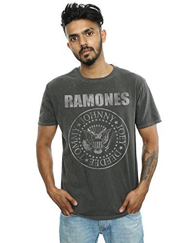 Absolute Cult Ramones Hombre Distressed Presidential Seal Camiseta Lavada Carbón Medium
