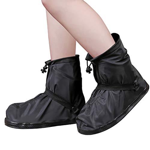 LIUFS Überschuhe Wiederverwendbare wasserdichte Schuhe Abdeckung Boot Slip Regen Fahrradsohle Waschbar Langlebig Silikon Rainy Black and White