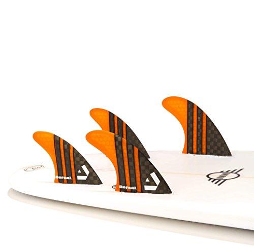 DORSAL Carbon Hexcore Quad Surfboard Fins (4) Honeycomb FCS Base Orange