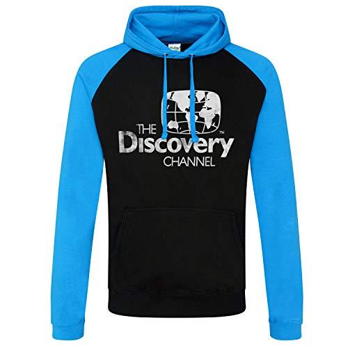 Discovery Officiellement sous Licence Channel Distressed Logo Baseball Sweat À Capuche (Noir - Bleu), XL