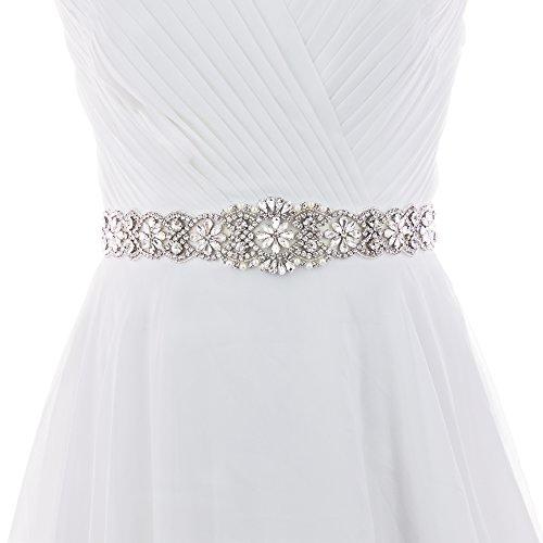 Azaleas Women's Crystal Wedding Belt Sashes Bridal Sash Belt for Wedding (Black)