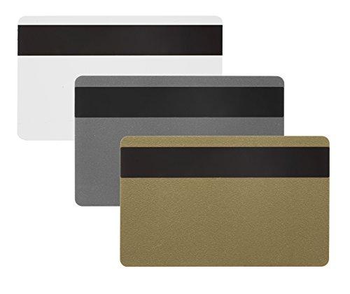 10 x Karteo® Plastikkarten silber | Blankokarten mit HiCo Magnetstreifen | aus PVC | zum codieren | für Ausweise Dienstausweise EC -Karten Bankkarten Gesundheitskarten