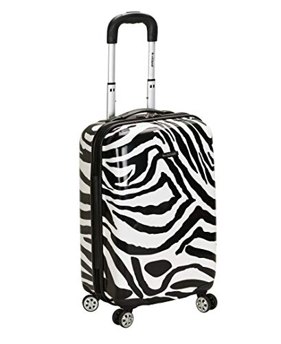 Rockland Safari Hardside Spinner Wheel Luggage, Zebra, Carry-On 20-Inch
