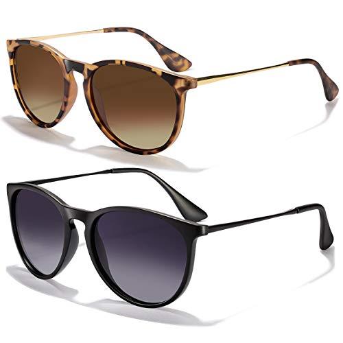 Sunglasses for Women Men Polarized uv Protection Wearpro Fashion Vintage Round Classic Retro Aviator Mirrored Sun glasses (black+Leopard brown)