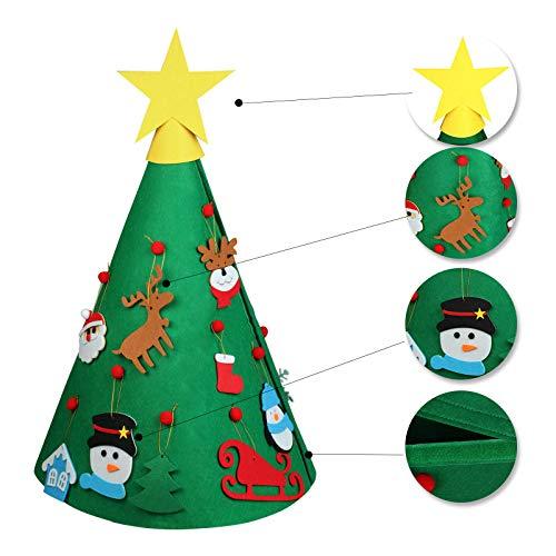 vLoveLife Weihnachtsbaum aus Filz, 78 cm, mit 15 hängenden Ornamenten, 3D-Weihnachtsbaum, Weihnachtsgeschenk, Weihnachtsgeschenk für Kinder, Weihnachtsdekoration