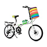 BXU-BG Bicicletas Deportivas al Aire Libre 20 Pulgadas Bicicleta Plegable en tándem de la Bici Adultos Niños Viaje de Bicicletas Campo de la Bici Plegable for niños Doble Disco de Freno