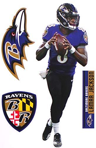 "Baltimore Ravens QB Lamar FATHEAD + Ravens Logo Set Official NFL Vinyl Wall Graphics 17"" INCH"