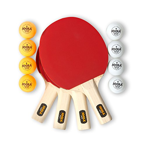 JOOLA Hit Set Bundle  Ping Pong Set for 4 Players  Includes 4 Pack Premium Ping Pong Paddles 8 Table Tennis Balls 1 Carrying Case  Each Racket is Designed to Optimize Spin and Control