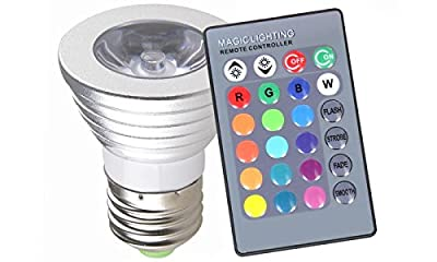 Go Beyond (TM) E27 Standard Screw Base 16 Colors Changing Dimmable 3W RGB LED Light Bulb with IR Remote Control for Home Decoration/Bar/Party/KTV Mood Ambiance Lighting
