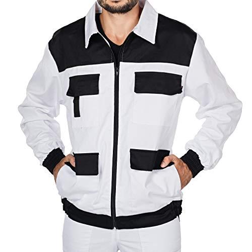 Mazalat Arbeitsjacke männer, Schutzjacke mit vielen Taschen,Arbeitsjacken Herren, Jacket mit Brusttasche Herren, Qualitat Jacke, Arbeitskleidung männer (Weiß/Schwarz, XXXL)