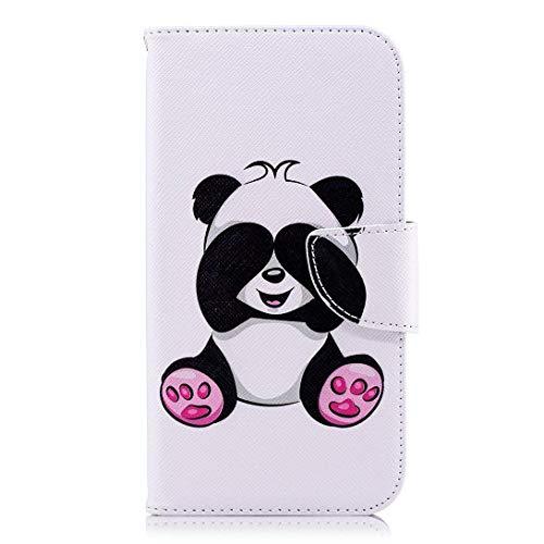 Uposao Kompatibel mit Handyhülle Huawei P20 Leder Tasche Schutzhülle Handytasche Brieftasche Ledertasche Lederhülle Bunt Muster Klapphülle Book Case Schutzhülle Flip Cover,Lustig Panda