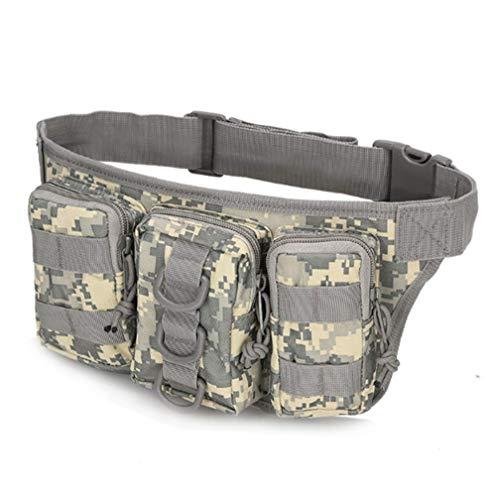 Riñonera deportiva al aire libre bolso bandolera táctico militar bolsa senderismo mochila camuflaje de montaña para camping airsoft senderismo (ACU)