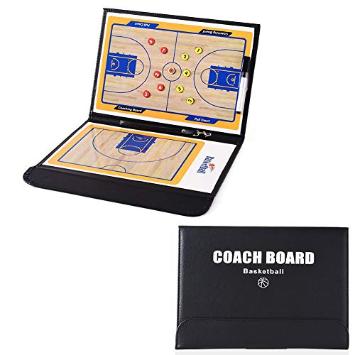 MUMIAO Basketball Coach Tactic Board Clipboard Tactical Magnetic Board Kit,Training,Game Plan and Coach&Referee Study Accessory Portable Strategy Coach Board (Black)