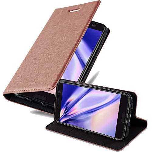 Cadorabo Hülle für HTC 10 (One M10) - Hülle in Cappuccino BRAUN – Handyhülle mit Magnetverschluss, Standfunktion & Kartenfach - Case Cover Schutzhülle Etui Tasche Book Klapp Style