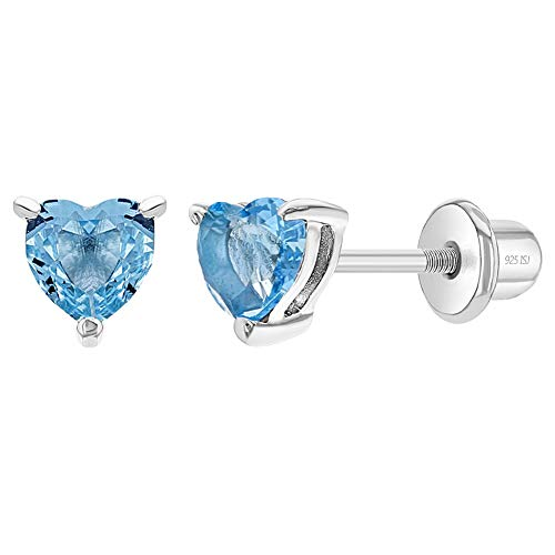 925 Sterling Silver 4mm Aqua Blue Heart Shape Cubic Zirconia Stud Earrings for Toddlers & Girls with Safety Screw Back Lock For Daily Comfortable Wear Ideal Premium Quality Gift for Young Girl