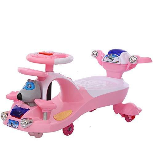 CAIMEI Coche giratorio para niños, juguete para niños 1-3-7 juegos deslizantes para fitness, Yo Gyro Wiggle Scooter Silenciador Flash Prevención (color: rosa), rosa