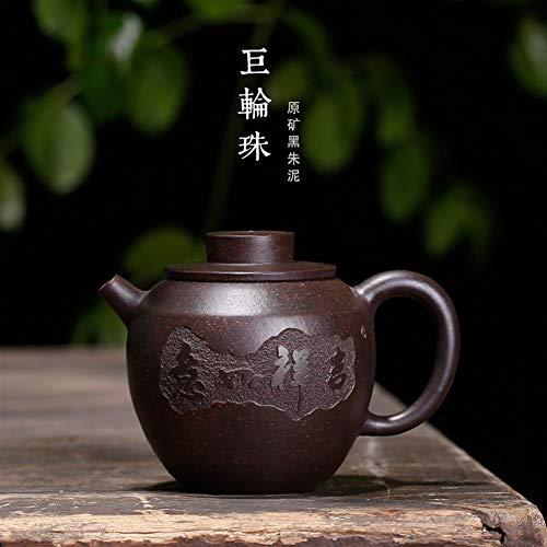 XinQuan Wang Yixing Minerale teiera Volante di Sabbia Nera Raccogliere Zhuni Perline Pot Fortuna Carving (Color : Black Zhu Mud)