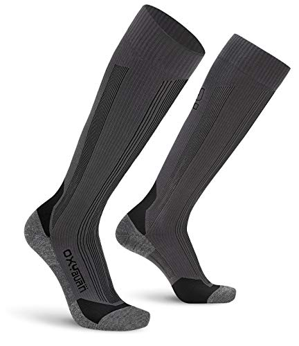 Oxyburn Ski Pro Silk Feel HD Chaussettes Homme, Anthracite/Noir, Size 35/38