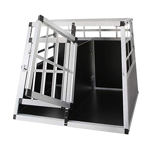 Froadp Alu Hundebox Hundetransportbox Reisebox Transportbox Gitterbox mit 2-Türig für Haustier(89x69x51cm)