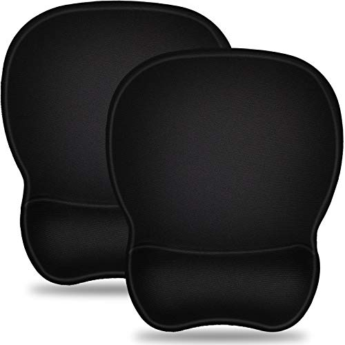 2 PCS Mouse Pad with Wrist Support Bar Set Ergonomic Mouse Pad with Gel Wrist Rest Support, Gaming Mouse Pad with Lycra Cloth, Non-Slip PU Base for Computer Laptop Home Office & Travel Black