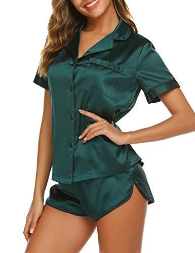 Ekouaer Women's Satin Short SleevePajamas Notch Collar Short Sleeve Sleepwear Two Piece Pajama Set (Dark Green,Small)
