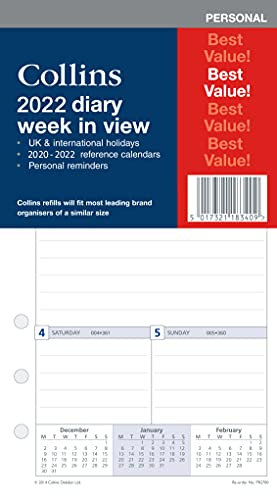 Collins 2022 Diary Week to View Refill for Personal Size (172mm x 96mm) 6 Ring Organiser