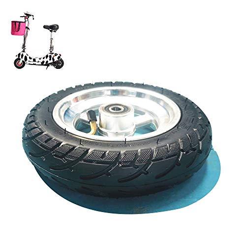 SHKUU Neumáticos para Scooter eléctrico, 8x2.0-5 Juego Ruedas Completas 8 Pulgadas, Neumáticos sin cámara Gruesos Resistentes Desgaste, Ruedas aleación Aluminio, Diámetro del rodamiento 10 mm