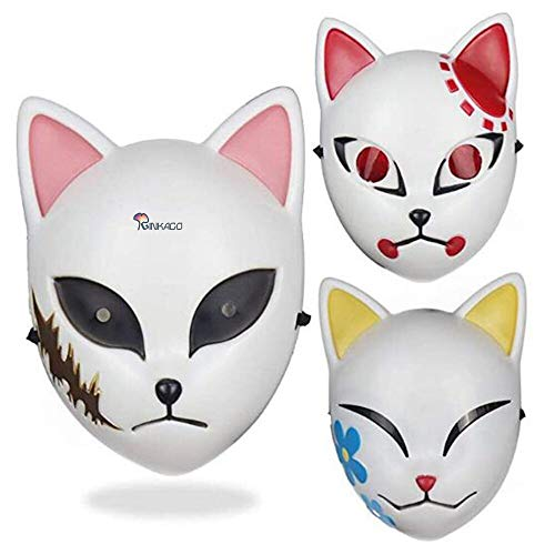 JUZIPI Ginkago 3PCS Demon Slayer Cosplay Mask Kimetsu no Yaiba Cosplay Costume Japanese Anime Photography Props Toy
