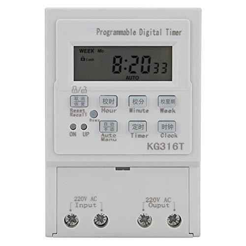 Temporizador digital, temporizador, 1 W 25 A Kg316T 220 V CA duradero para -25 ° C - + 70 ° C Alta precisión 1 minuto - 168 horas