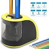 Temperamatite–Temperamatite elettrico con USB o pile–2fori (6–8mm e 9–12mm)-Ideale regalo per bambini, studenti, artisti professionisti (batterie non incluse) (giallo)