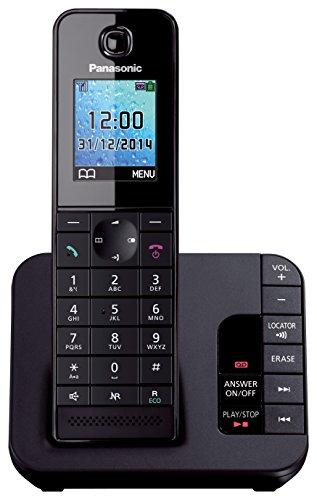 Panasonic KX-TGH220 Digitales schnurloses Telefon mit Farb-LCD-Display, Schwarz