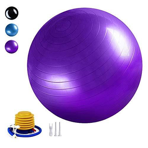 TownCat Gymnastikball Extra Dicker Yoga-Ball(65cm), Fitnessball Yoga & Pilates, Sitzball Büro, Balance Ball inklusive Luftpumpe (Lila)