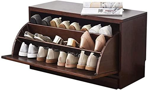 N/Z Home Equipment Entrada Simple y Moderna Zapatero de Roble Ultra Delgado Gabinete de Zapatos de Gran Capacidad Armario basculante Armario Zapatero Taburete para Cambiar Zapatos (Color: Nogal)