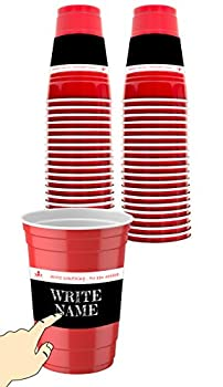 Empire Co - 50 x Disposable Fun Red Party Cups With Write on labels | 18 oz | Less Wastage | Scratch Your Name or Anything You Want | No Pen Needed | Good Precaution to Avoid Spreading Germs