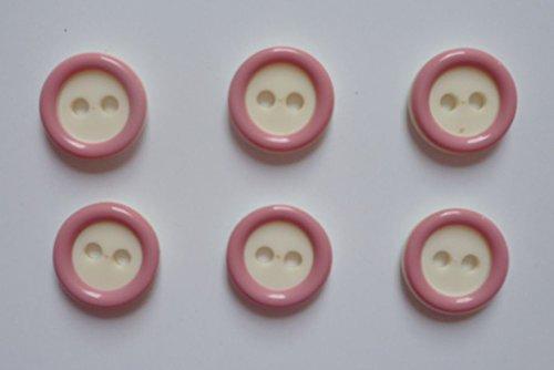Jäpel 6 Boutons 2 trous 13 mm crème/rose