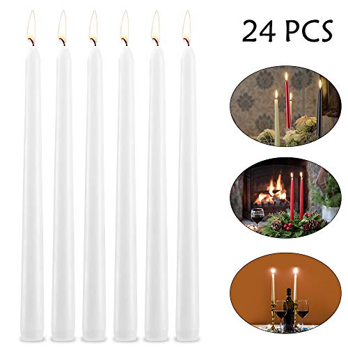 SUPERSUN Taper Candles 10 inch Tall Elegant Candles, Set of 24 Unscented Candles Fits for 3/4 inch Candle Holders, Perfect for Home Decor, Wedding, Dinner, Parties, Christmas,Emergency (Ivory)