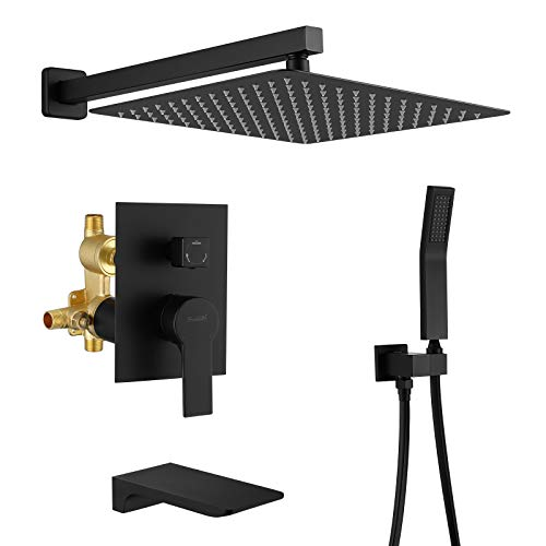 """SHAMANDA Shower System with Waterfall Tub Spout and Handheld Shower Head, 12"""" Rain Shower Faucet Sets Complete with Shower Round-in Valve and Trim, Wall Mounted, Matte Black, L1001-7"""